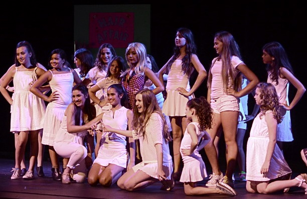 Gia and Greek chorus pose all white